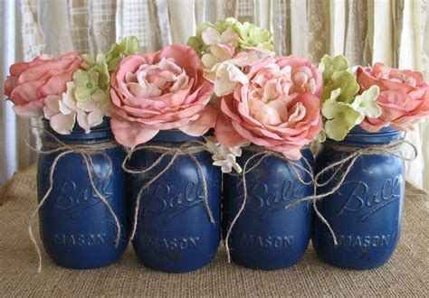 Navy Blue Flower Vases by Jars Jars Painted Jars Flower Vases