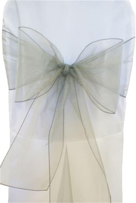 silver organza chair sashes bows ties wholesale