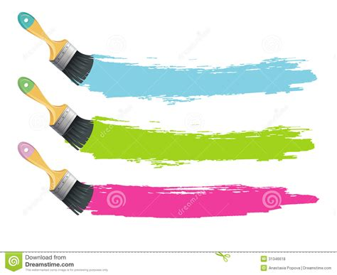 paint brushes with color splashes stock vector