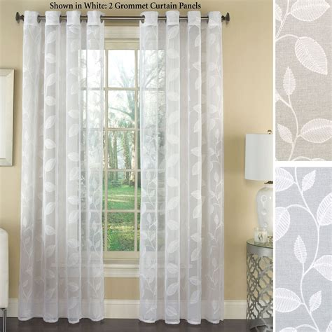 grommet curtain panels avery semi sheer embroidered grommet curtain panels