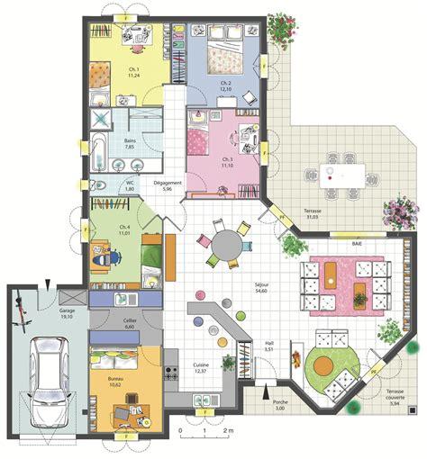 plan maison plain pied 4 chambres garage plan maison en l avec garage pour 2 voitures plans maisons
