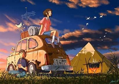 Camping Anime Wallpapers Sunset Desktop Sky Grass