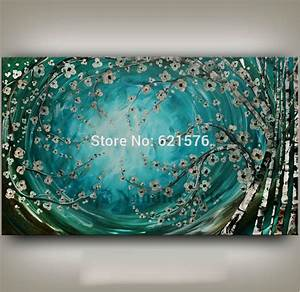 Big hand painted modern turquoise brich tree flower wall