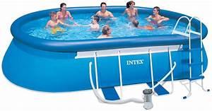 Easy Set Pools : 28192 intex pool 18ft x 10ft x 42 oval frame easy set pool with safety ladder ground cloth ~ Eleganceandgraceweddings.com Haus und Dekorationen