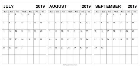 july august september calendar july month calendar printable