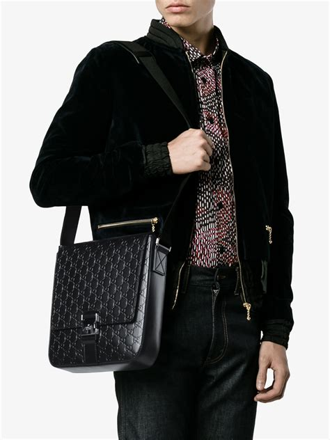 gucci leather signature messenger bag  black  men lyst