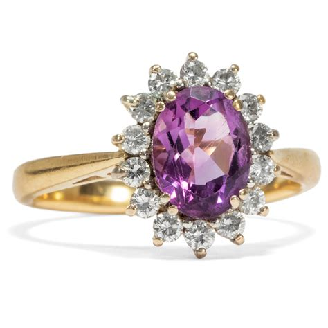 Das Gewisse Etwas Englisch by Feiner Vintage Ring Mit Amethyst Diamanten Um 1965