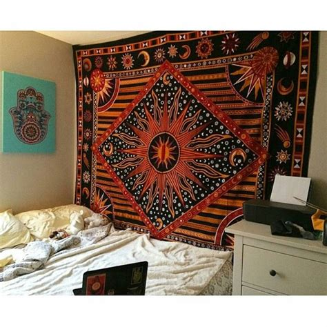multicolor celestial sun moon planets tapestry wall
