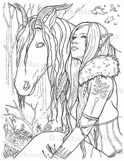 Coloring Fantasy Elf Malevolence Elvenstarart Horse Pooka
