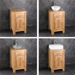 solid oak 45cm small bathroom vanity unit cabinet ceramic