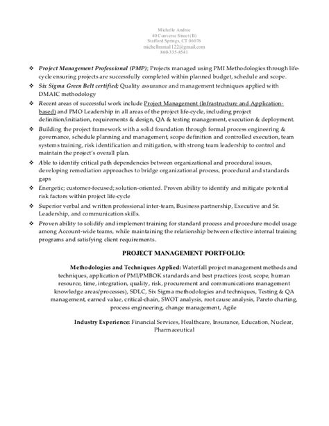 18375 project management resume andree pmp ssgbc senior project manager