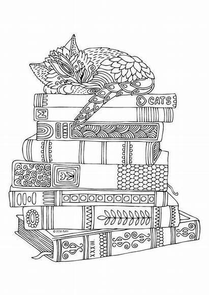 Coloring Pages Adult Cat Books Library Printable