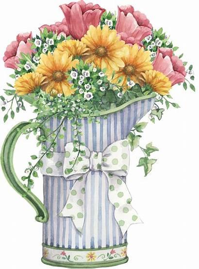 Flower Clipart Pot Watercolor Floral Decoupage Mason