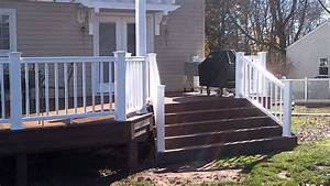 New Timbertech Deck With Dual Pergolas And Flared Stairs