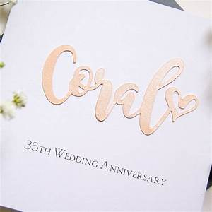 Coral 35th wedding anniversary card by the hummingbird for 35th wedding anniversary symbol