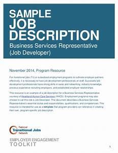 Sample Job Description Business Services Representative