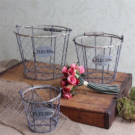shabby chic wire baskets shabby cottage chic chicken wire storage baskets ebay