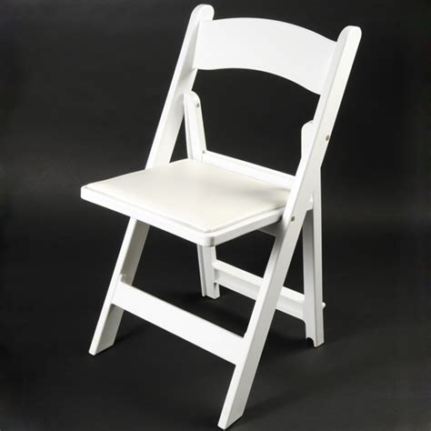white resin folding chair with vinyl padded seat