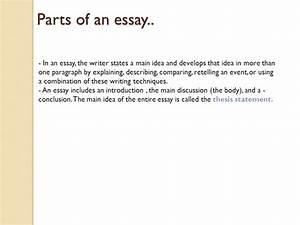 Persuasive Essay Thesis Components Of An Essay Outline Beowulf Analysis Essay Apa Format Essay Paper also Business Communication Essay Components Of An Essay Essay Table Of Contents Parts Of An Essay  Proposal Essay Topics Examples
