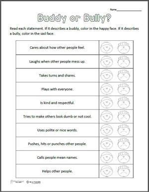 free printable buddy or bully worksheet free printable friendship and free
