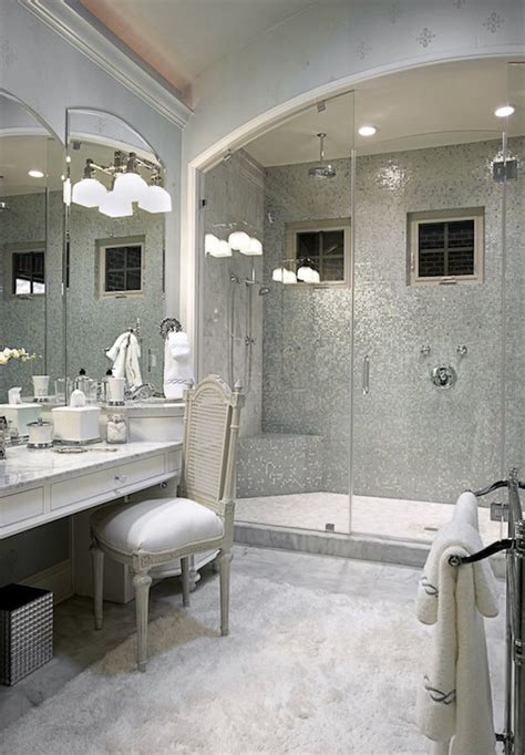 silver mosaic tile transitional bathroom knotting