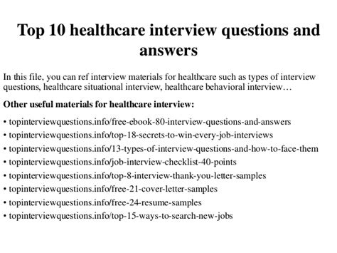 top  healthcare interview questions  answers