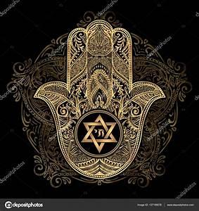 Jewish hamsa tattoo — Stock Vector © YulianaS #137199578