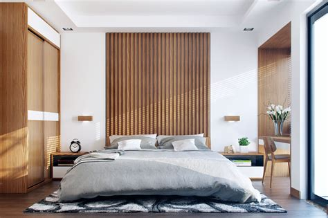 25 Beautiful Examples Of Bedroom Accent Walls That Use Slats To Look Awesome : Interior Design By