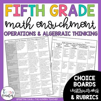 math enrichment boards for fifth grade all standards tpt