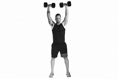 Exercises Upper Dumbbells Person Drawing Dumbbell Push