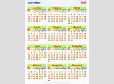 calendario 2020 orizzontale e verticale