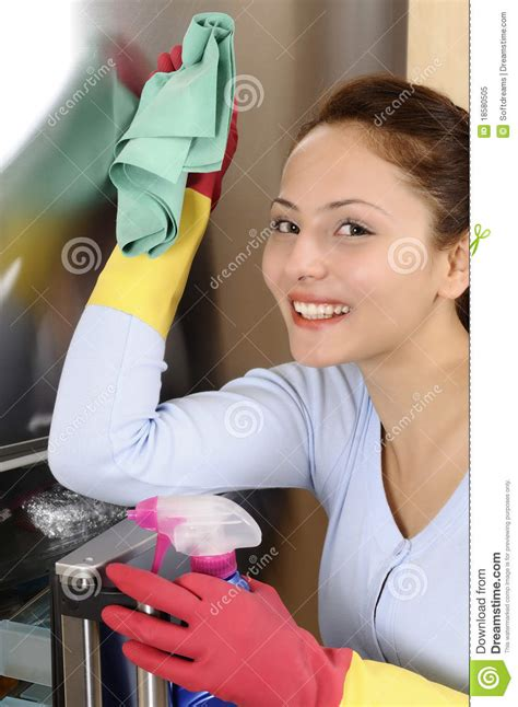 Beautiful Women Cleaning The House Royalty Free Stock