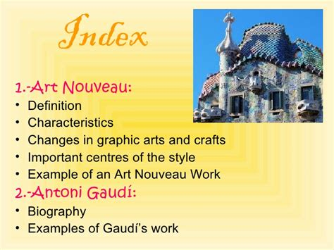 key features of deco nouveau and antoni gaudi