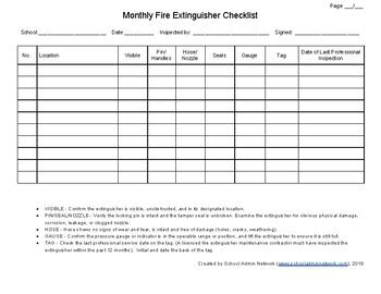 Who can inspect fire extinguishers? Fire Extinguisher Inspection Log by School Admin Network | TpT