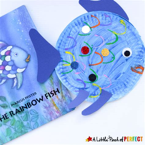 paper plate fish craft inspired by the rainbow fish 579   Paper Plate Fish Craft Inspired by The Rainbow Fish A Little Pinch of Perfect 8
