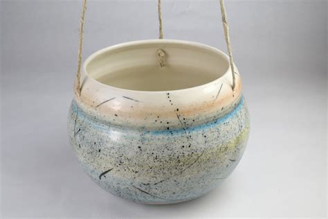 Large Hanging Planter / Handmade Ceramic Planter With Spatter