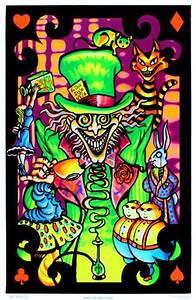 Alice in Wonderland Mad Hatter Collage Flocked Blacklight