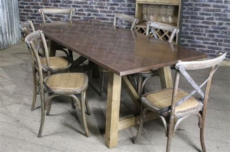 copper dining table industrial style copper top