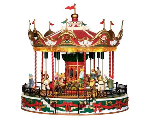 lemax village collection santa carousel with adaptor 34682