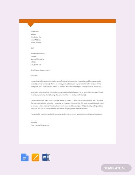 complaint letter  unprofessional behavior template