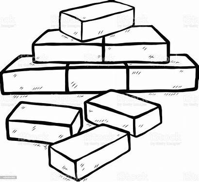 Bricks Brick Clipart Coloring Pages Vector Illustration