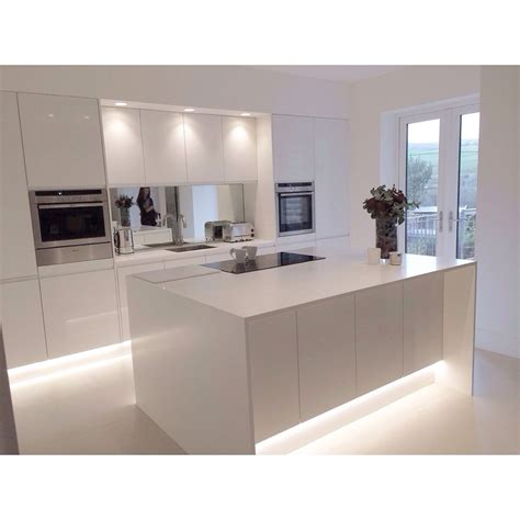 gloss kitchen ideas modern white gloss integrated handle kitchen with 18mm