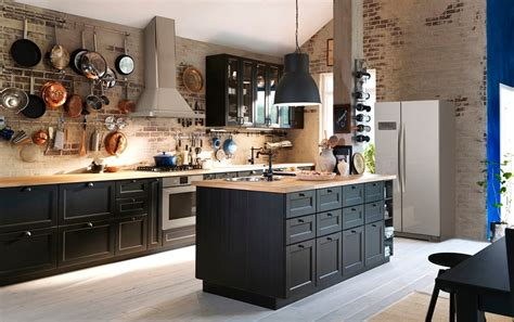 stainless steel kitchen islands create drama with black brown and oak ikea