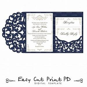 set of tri fold pocket envelope 5x7 wedding invitation svg With wedding invitation template for cricut