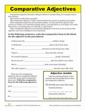 comparative adjectives worksheets and grammar worksheets