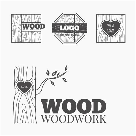 wood woodwork logos design vector  vector logo