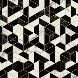 Black and white marble hexagonal pattern art print by for Modern flooring pattern texture