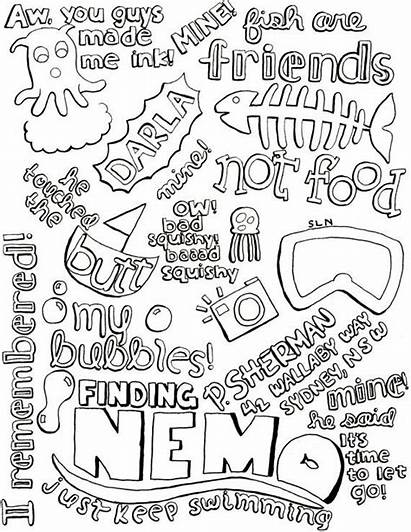 Quotes Nemo Finding Quote Collage Disney Coloring