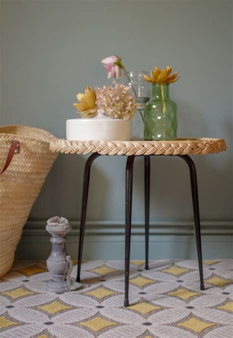 Table en rotin vintage années 60 Factory Vintage