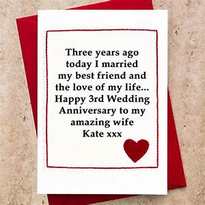 personalised 3rd wedding anniversary card by jenny arnott With third wedding anniversary gifts